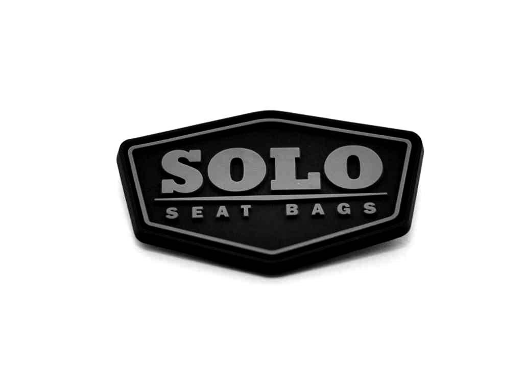 Solo seat bags pvc label custom shape