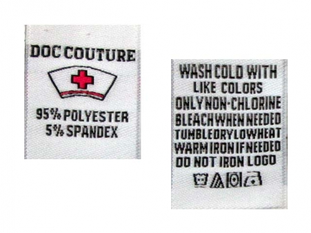 Woven Care Labels. Front-Back Front - Logo + Content Back - Care Instructions. Sewn from the top.