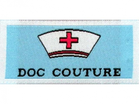Woven Brand Damask Label. Straight Cut. Can be sewn all around, or sides only.